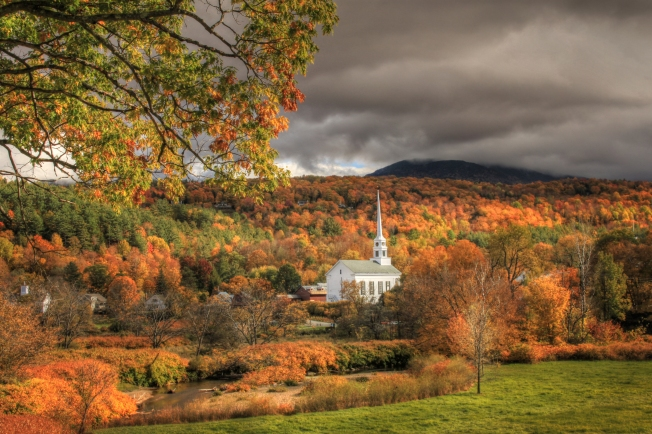 Stowe, VT - Stowe Community Church from the Mountain Road - October 14, 2015